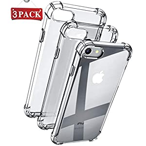 PEOTORR Compatible with iPhone 8 Case/iPhone 7 Case, 3-Pack Clear Soft TPU Shock Absorption Bumper Cover Anti-Scratch Protective Case for iPhone 8 /iPhone 7 -Upgraded