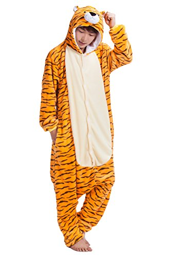 Adult Tiger One Piece Pajamas Kigurumi Hoodie Jumpsuit Playsuit (Tiger Costume Men)