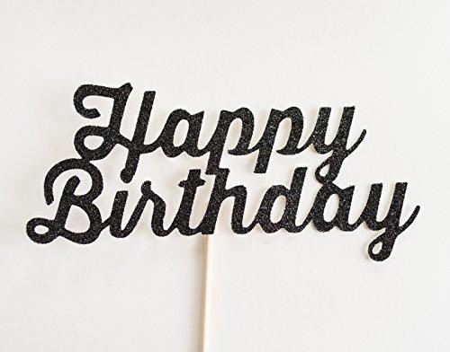 Black Glitter 'Happy Birthday' Cake Topper, Script (Happy Birthdaycake)