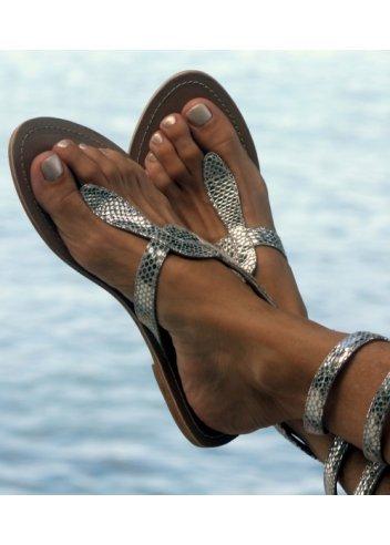 b60c604632f9e3 Aspiga Cobra Silver Snakeskin Ankle Wrap Toe Post Flat Sandal Silver UK 8 -  41  Amazon.co.uk  Shoes   Bags