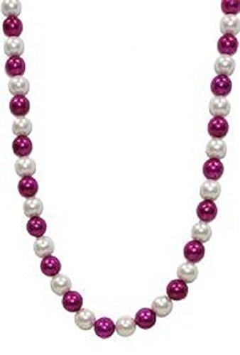 Mardi Gras, White Faux Pearl and Hot Pink Beads, Necklace, 44