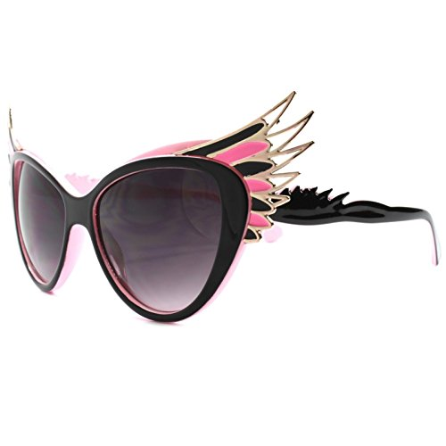 Unique Vintage Retro Funky Oversized Wing Tip Cat Eye - Sunglasses Wing