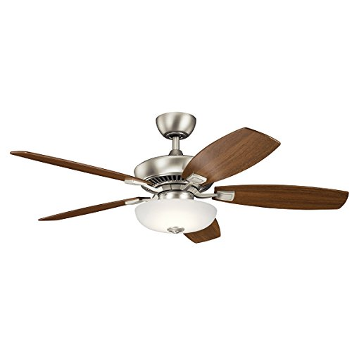 52' Canfield Fan - Kichler 330013NI 52 Inch Canfield Pro LED Ceiling Fan, 3 Speed Wall Control Ltd Function, Brushed Nickel Finish with Cherry/Walnut Blades