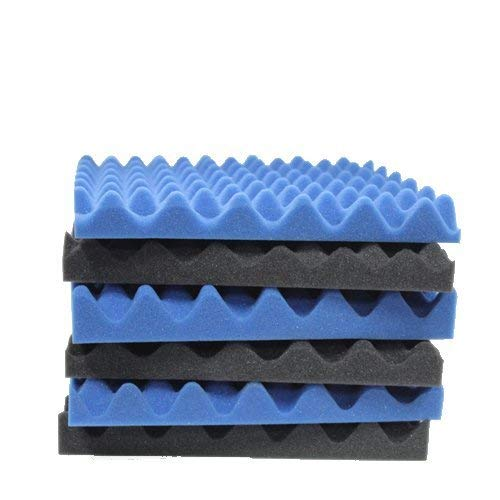 6 Pack Blue/Charcoal egg crate foam acoustic foam tiles soundproofing foam panels sound insulation soundproof foam padding sound dampening Studio sound proof padding 1.5