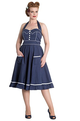 Petticoat Kleid retro 50s Weiss Polka Hell Navyblau Dots Bunny Neckholder gvwSYaq