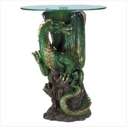 "Koehler SS-KHD-34738 24"" Green Collectible Dragon Table"