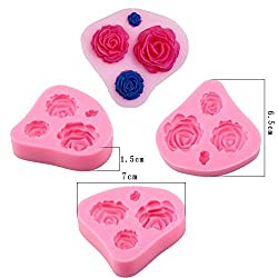 4 Holes Cute Sizes Rose Flower Funny DIY 3D Silico