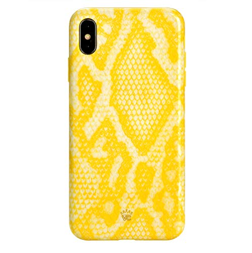 Yellow Snake Skin iPhone Xs Max Case - Premium Protective Cover - Cute Phone Cases for Girls & Women [Drop Test Certified] (Snakeskin Print)