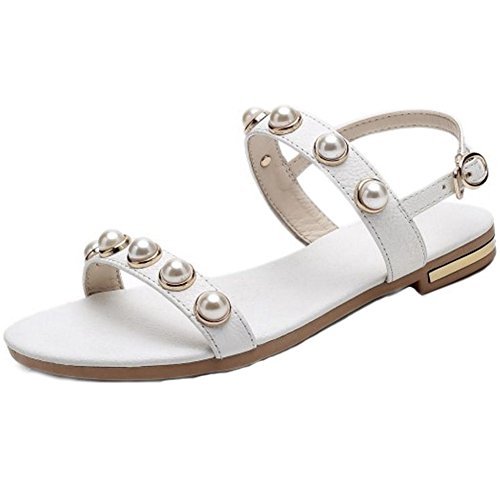 SJJH Women Flat Sandals with Open Toe and Back Leisure Sandals with Large White dWaMto7sr