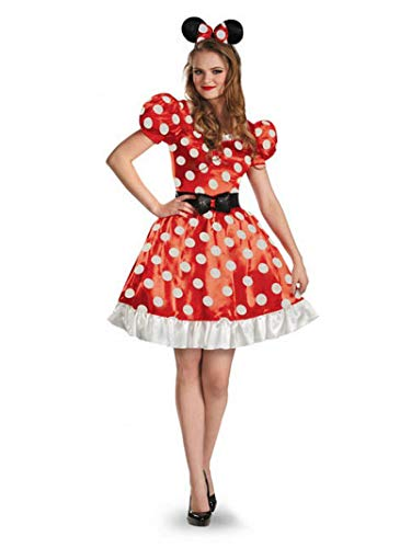 Mickey Mouse Halloween Party Cartoon (Disney Disguise Women's Red Minnie Mouse Classic Costume, Red/Black/White,)