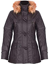 Women's Quilted Leather Parka Jacket with Detachable Hood