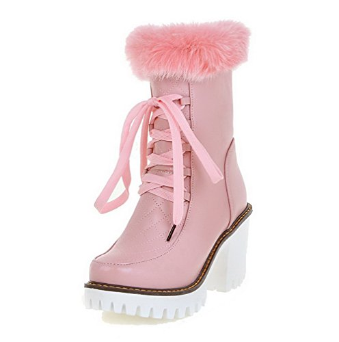 AgooLar Women's Solid PU High Heels Zipper Round Closed Toe Boots Pink LnJJxLjD