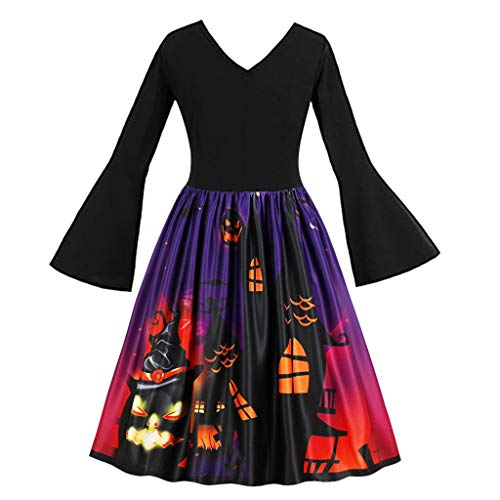 Switch Witch Costume (Vintage Dress for Women, Mitiy 1950s Elegant Lace V Neck Halloween Print Costume Party Swing)