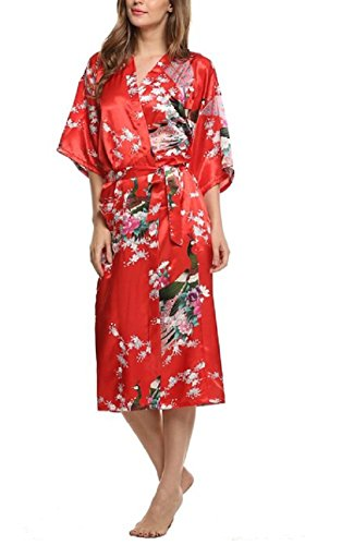 SexyTown Women's Long Floral Peacock Kimono Robe Satin Nightwear with Pockets Small Red
