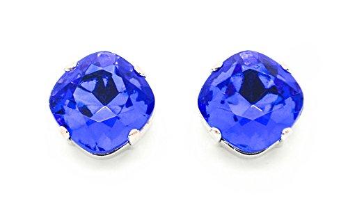 Blue Sapphire Doublet - SAPPHIRE DOUBLET 12mm Stud or Post Earrings Cushion Cut Stones *Pick Your Finish *Karnas Design Studio