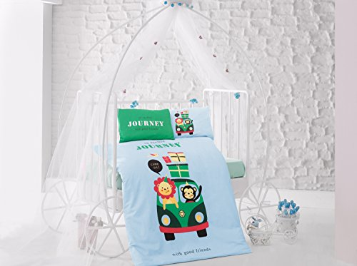 Journey Green Baby Cot Bed Duvet Cover Set, 100% Cotton Soft and Healthy 4-Pieces Bedding Set by TI Home