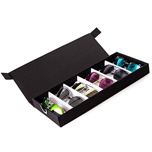 (TRIUMPH VISION Sunglasses Organizer Case 6 Slots - Magnet Closure Glasses Storage Box Eyewear Tray Holder)