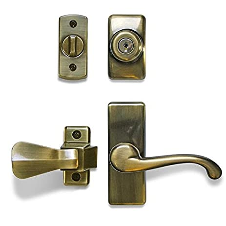Ideal Security Inc. Deluxe Storm And Screen Door Lever Handle And Keyed  Deadbolt Antique Brass