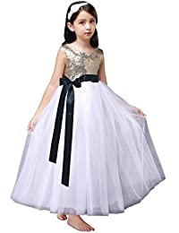Gold Sequin Flower Girl Christmas New Year Party Ankle Floor Length Dress D26