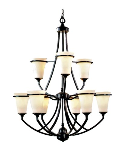 Marquis Lighting 9709-ABZ-111 Chandeliers with Satin Opal Glass Shades, Antique Bronze