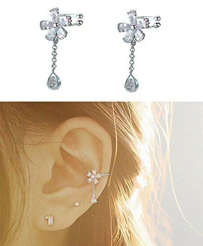 S925 Sterling Silver Non Piercing Ear Clip Earrings CZ Flower Dangle Cuff Earrings(1Paris) by Amkaka