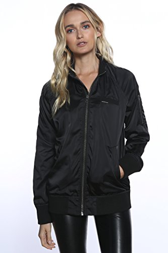 Members Only Women's Iconic Boyfriend Jacket With Satin Finish, Black, Extra Large Xlg Satin