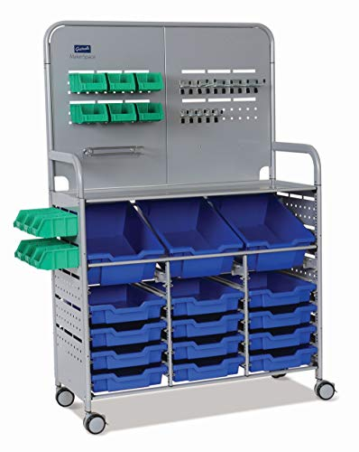 Gratnells MakerSpace Cart with 3 Deep and 12 Shallow Royal Blue Trays, 12 Mini bins, School Education Organizer Caddy, STEM STEAM, Castors