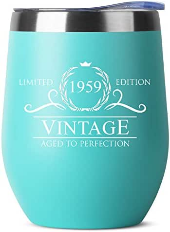 1959 61st Birthday Gifts for Women or Men - Vintage Aged to Perfection Stainless Steel Tumbler -12 oz Mint Tumblers w/Lid - Funny Anniversary Gift Ideas for Him, Her, Husband or Wife. Insulated Cups
