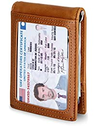 RFID Blocking Bifold Slim Genuine Leather Thin Minimalist Front Pocket Mens Wallets with Money Clip - Made From Full Grain Leather