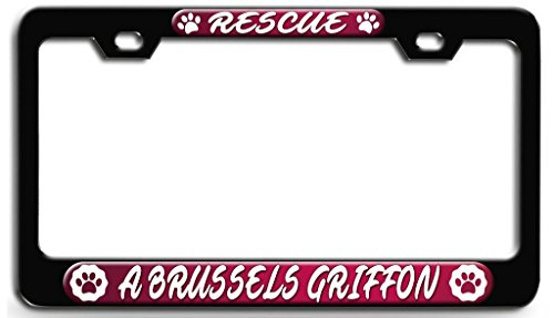 Makoroni - RESCUE A BRUSSELS GRIFFON Dog Dogs Black Steel License Plate Frame 3D Style, License Tag Holder
