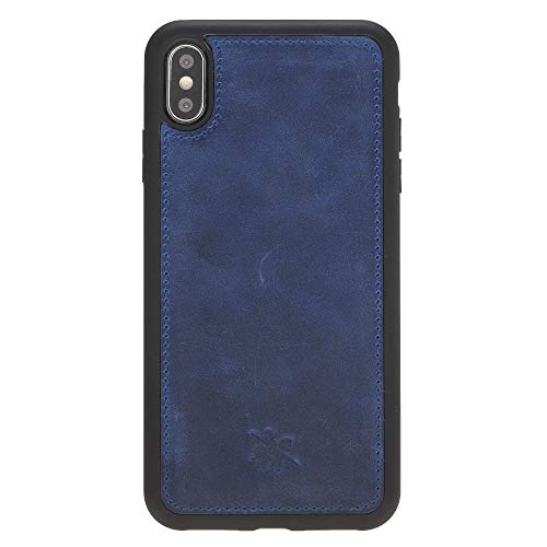 Venito Lucca iPhone Xs MAX Leather Case, Snap-On Back Cover for iPhone XSMAX | Slim and Lightweight | Handcrafted from Premium Full Grain Leather (Antique Dark Blue)