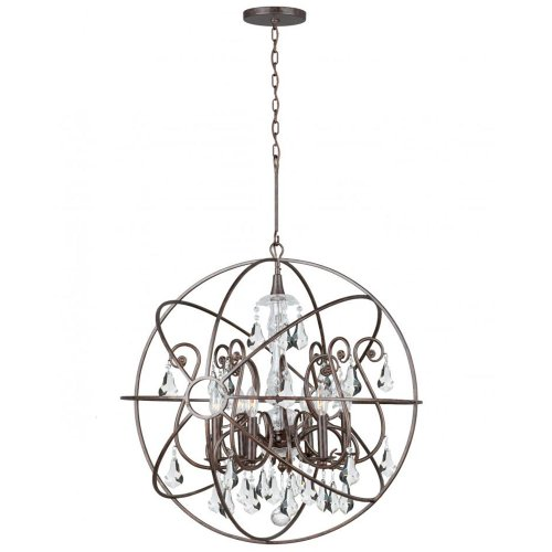 Accents Six Light Chandelier (Crystorama 9028-EB-CL-MWP Crystal Accents Six Light Chandeliers from Solaris collection in Bronze/Darkfinish,)