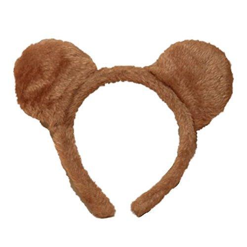 Brown Soft Furry Teddy Bear Ears Alice Hair Band Headband Fancy Dress]()