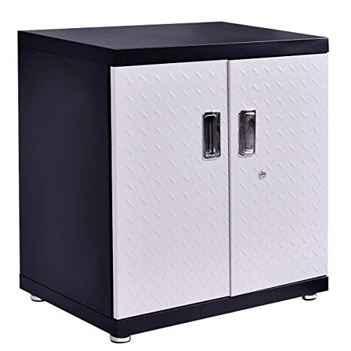 Door Single Deep Wine Cabinet (Wall Mount Cabinet Metal Garage Steel Black&SilverStorage Box Organizer 2 Shelves Tool New)