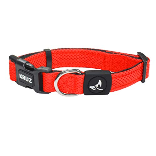 Kruz Dual Layered Mesh Collar for Small, Medium, Large Dogs – KZA102 – Easy Neck Size Adjustable Dog & Puppy Collar…