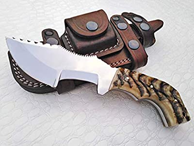 Ottoza Custom Handmade D2 Steel Tracker Knife with Ram Horn Handle - Survival Knife - Camping Knife - D2 Tools Steel Hunting Knife with Sheath Horizontal Scout Knife No:118