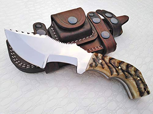 (Ottoza Custom Handmade D2 Steel Tracker Knife with Ram Horn Handle - Survival Knife - Camping Knife - D2 Tools Steel Hunting Knife with Sheath Horizontal Scout Knife No:118)