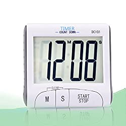 Digital Kitchen Wall Timers with Magnet Count Down Up Clock Alarm and Stopwatch Timers with Loud Ringer/ Large LCD Display/ Foldout Stand (White, Battery Included)