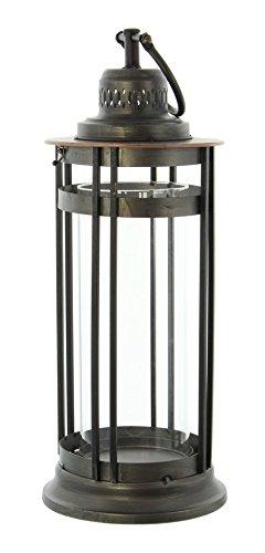 PierSurplus Industrial Look Metal Candle Lantern, Rustic Grey - Large Product SKU: CL229478