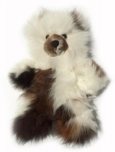 Baby Alpaca Fur Teddy Bear – Hand Made 10 Inch Multi – White / Dark Chocolate