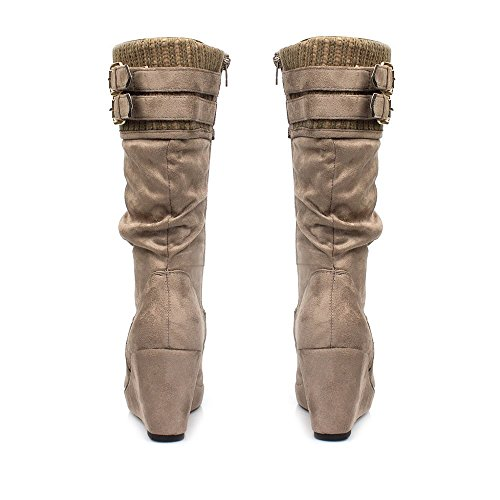 Knited Platform Top SUEDETTE Wedge TAUPE Boot TUnPqpAw