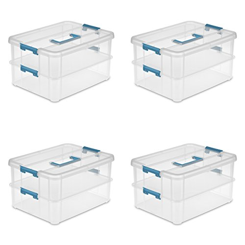 Sterilite 14228604 Stack & Carry 2 Layer Handle Box, Clear Base with Colored Handle and Latches, 4-Pack (Green Sterilite Storage Bins)