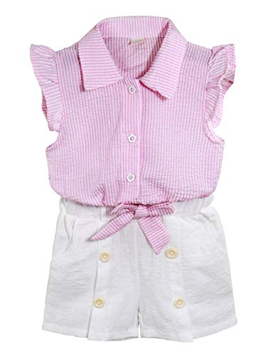 Toddler Baby Girl Outfits 2Pcs Ruffle Print T-Shirt Tops and Shorts Pants Clothes Sets 4-5 T
