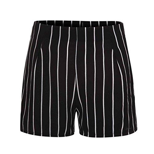 (Clearance ! Women Summer Stripe Print Shorts High Waisted Cuekondy Fashion Casual Zipper Hot Pants Beach Short Trousers (Black, L))