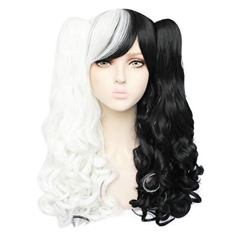 JoneTing White and Black Wig Cosplay White Wigs for Women Long Curly Synthetic Wigs for Lolita Wigs