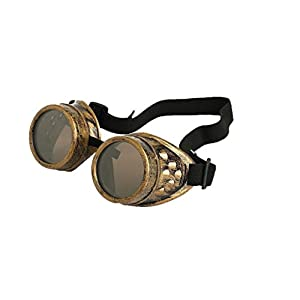Cyber Goggles Steampunk Welding Goth Cosplay Vintage Goggles Rustic (Copper)
