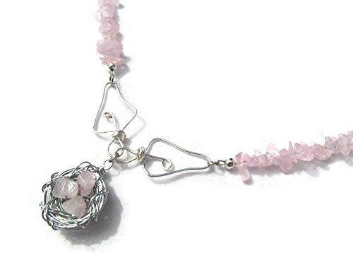 er Wire Wrapped Bird Nest Necklace, October Birthstone Pendant, Pink Gemstone Necklace ()