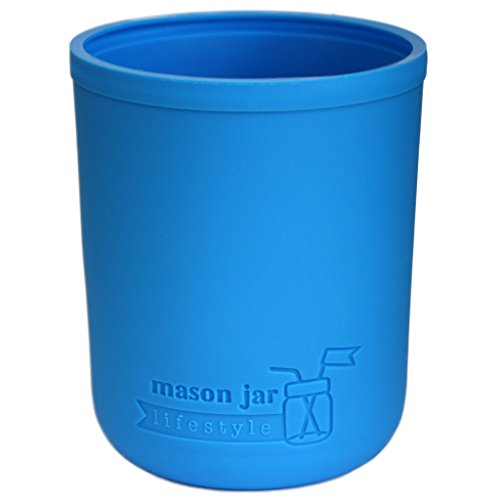 Silicone Sleeve for Mason Jars (Wide Mouth Pint, Bright Blue)