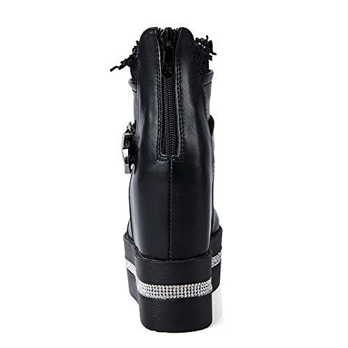 knöchelhohe geschlossene Zehe Stiefel Material High weiches feste runde Frauen Heels Allhqfashion schwarz xqaOgwxp