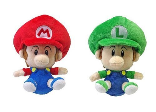 Set of 2 Little Buddy Baby Mario and Baby Luigi Plush -